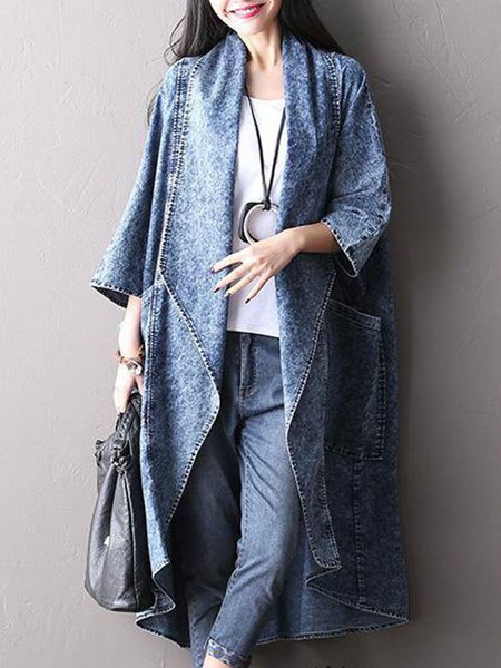 Cotton 3/4 Sleeve Solid Casual Washed Linen Outerwear