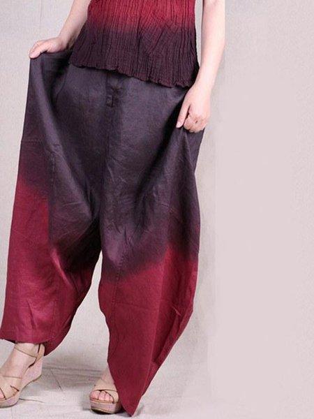 Casual Ombre/Tie-Dye Cotton Linen Bottom