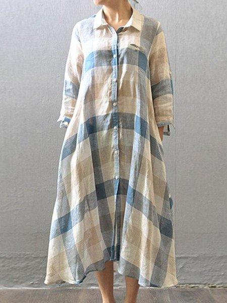 Long Sleeve A-line Casual Shirt Collar Linen Dress