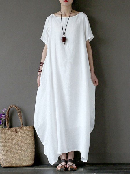 White Casual Linen Summer Maxi Dresses