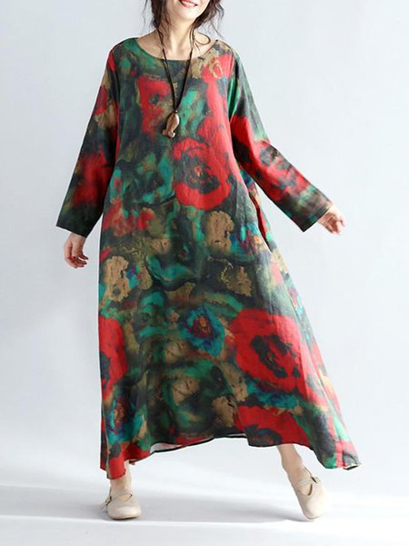Floral Red Shift Linen Printed Casual Linen Dress