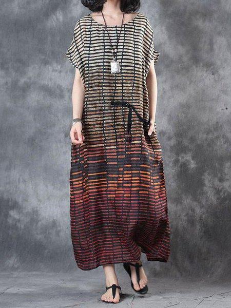 Short Sleeve Printed Casual Linen Linen Dress