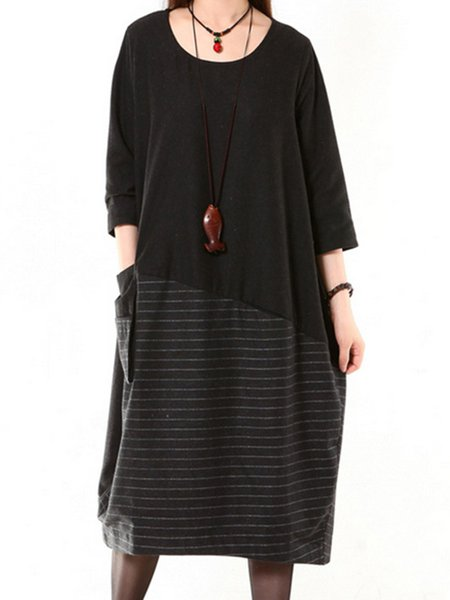 Black Paneled Stripes Crew Neck Casual Linen Dress