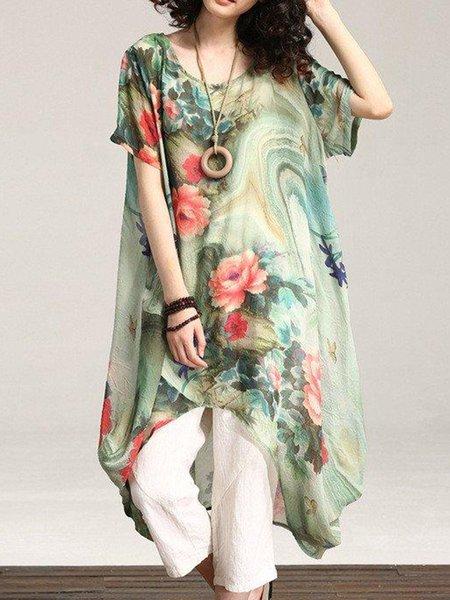 Green Asymmetrical Cotton Casual Printed Linen Dress