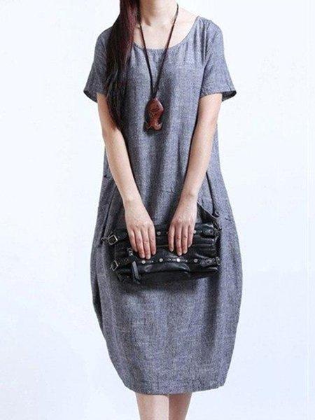 Casual Solid Short Sleeve Linen Dress