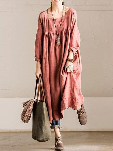 Long Sleeve Shift Square Neck Casual Linen Dress