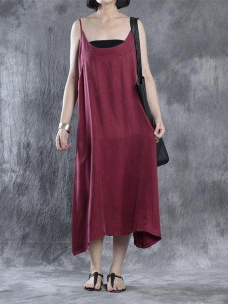 Spaghetti Sleeveless Cupro Linen Dress