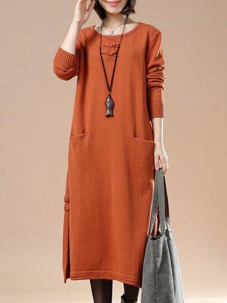 Orange Linen Dress Daily Long Sleeve Slit Dress