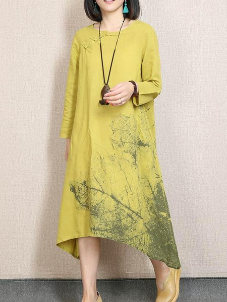 Yellow Casual Cotton Printed Crew Neck Linen Dress