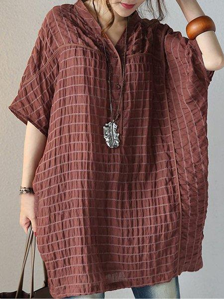 Coffee Linen Half Sleeve Stripes Pockets Linen Top