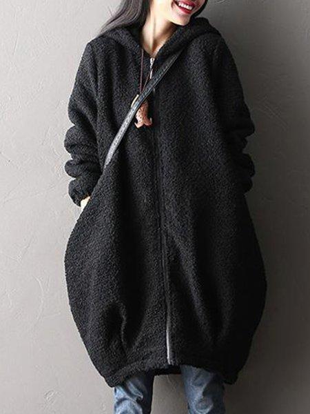 Black Long Sleeve Hoodie Linen Outerwear