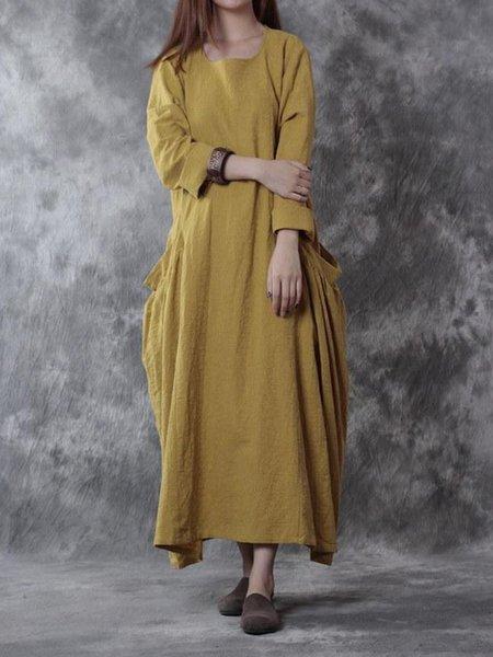 Cotton Long Sleeve Cocoon Crew Neck Casual Linen Dress