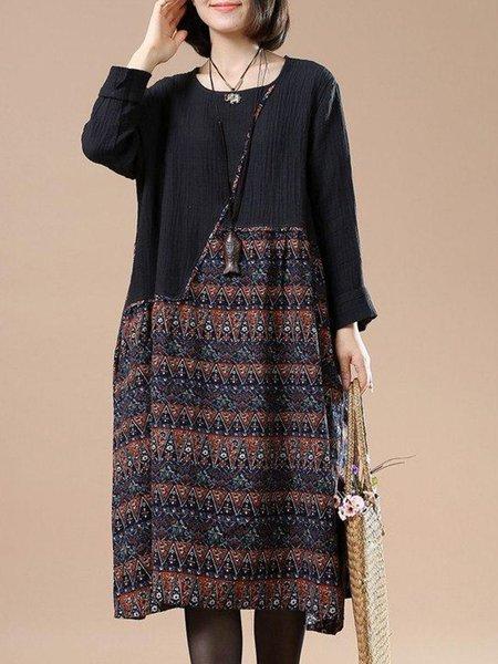 Black Crew Neck Paneled Long Sleeve A-line Linen Dress