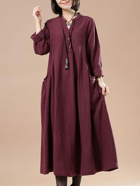 Rust Gathered Crew Neck Casual Solid Linen Dress
