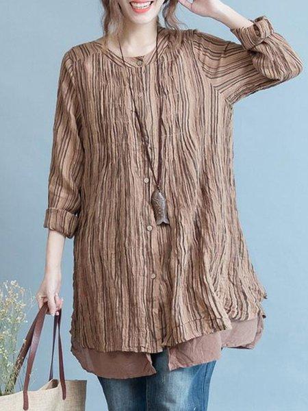 Khaki Long Sleeve Folds Linen Top