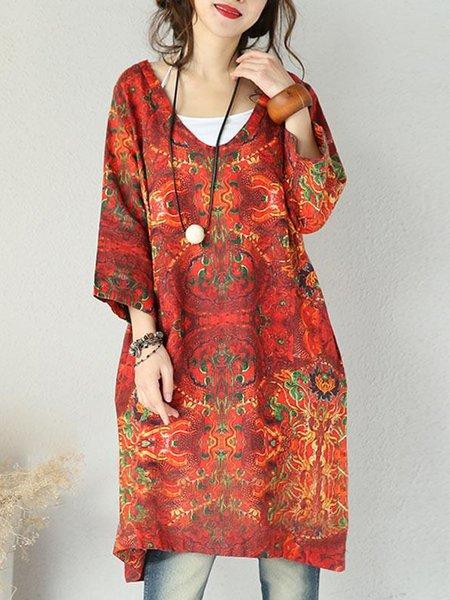 Red V Neck Floral Casual Linen Dress