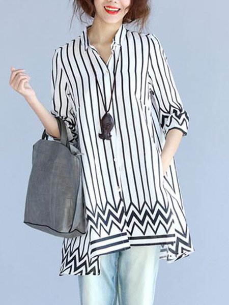Printed Casual Long Sleeve Shirt Collar Stripes Linen Top