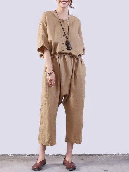 Khaki Half Sleeve Solid Linen Jumpsuit