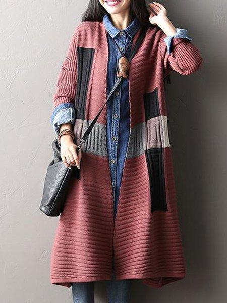 Red Wool Blend Long Sleeve Linen Knitwear
