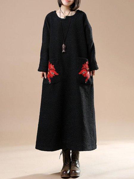 Black Casual Shift Crew Neck Linen Dress