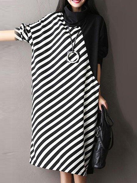 Black Color-block Casual Stripes Turtleneck Dress