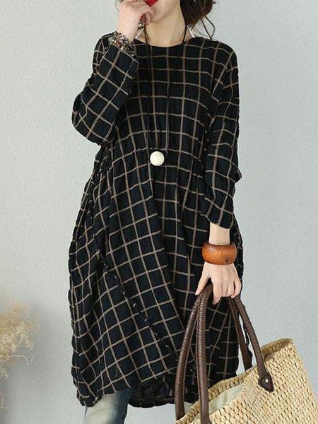 Black Long Sleeve Printed Checkered/Plaid Linen Dress