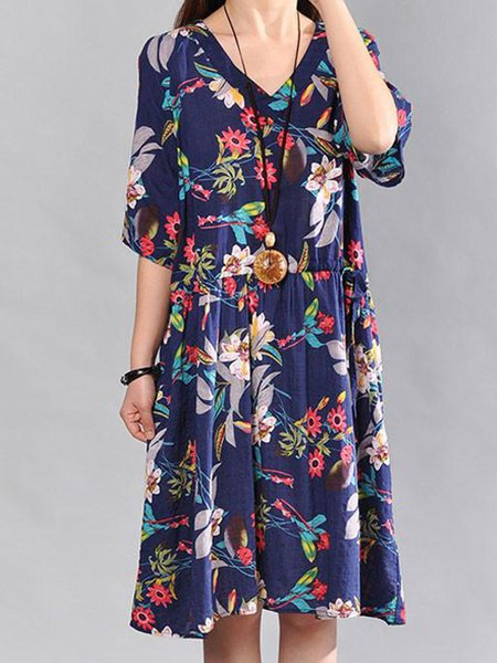 Casual V Neck Half Sleeve Printed Linen Dress