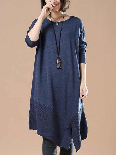 Plus Size Casual Long Sleeve Crew Neck Dress