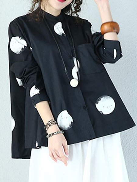Black Long Sleeve Printed Cotton Linen Top