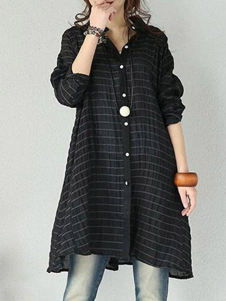 Black Long Sleeve Solid Linen Dress