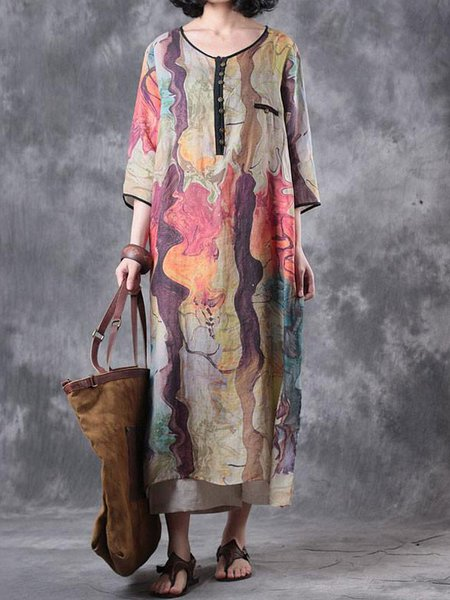 Multicolor Round Neck 3/4 Sleeve Floral Shift Linen Dress