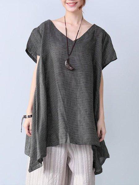 Black Asymmetric Striped Short Sleeve V Neck Linen Top