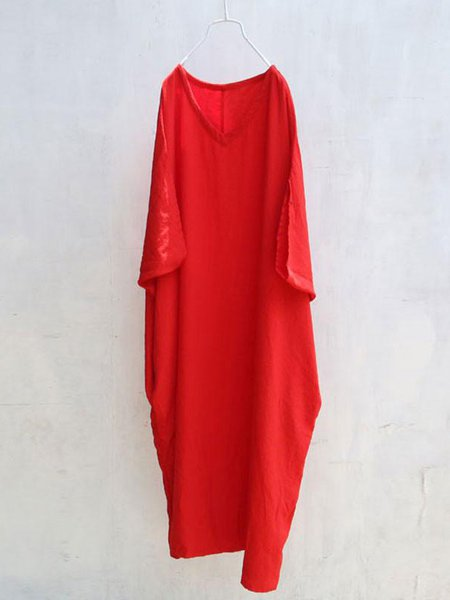 Red Linen Batwing V Neck Linen Dress