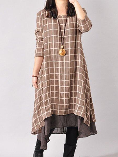 Coffee Crew Neck Long Sleeve Asymmetrical Linen Dress