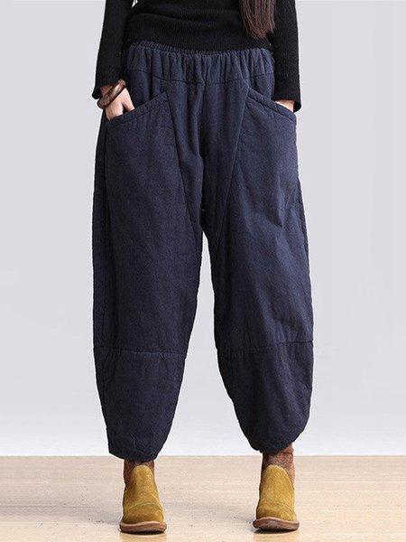 Blue Cotton Casual Linen Bottom
