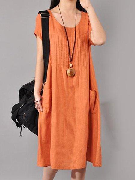 Orange Crew Neck Solid Short Sleeve Linen Dress