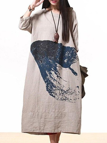 Beige Printed Shift Casual Loose Linen Dress