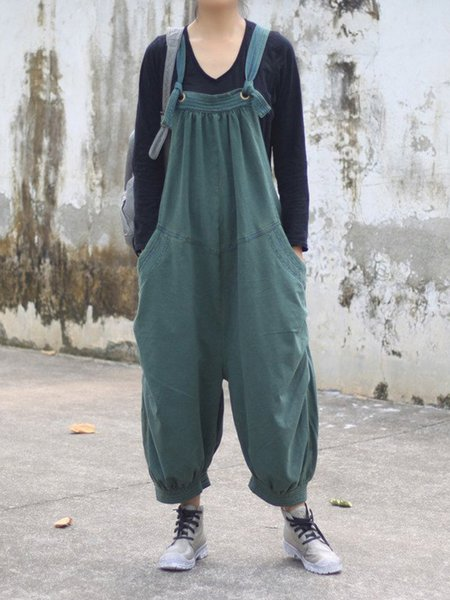 Dark Green Cotton Solid Casual Jumpsuit