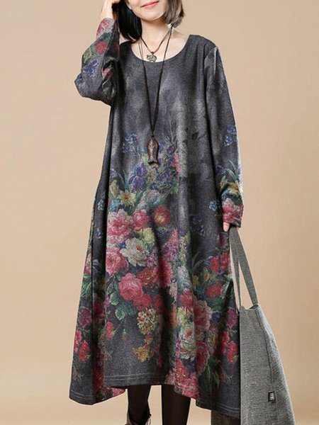 Deep Gray Casual Floral Print Round Neck Linen Dress