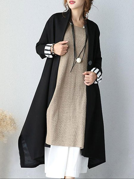 Black Casual Solid Linen Outerwear