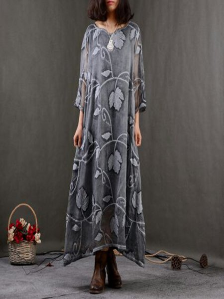 Gray Casual Cotton Crew Neck Linen Dress
