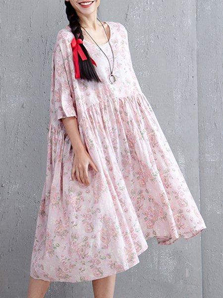 Pink Half Sleeve Asymmetrical Linen Dress