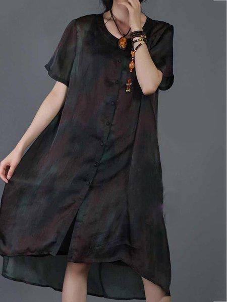 Short Sleeve Casual Crew Neck Linen Dress