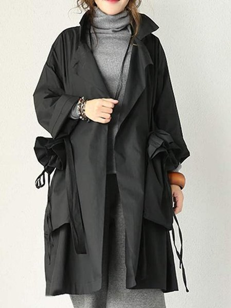 Black Long Sleeve Cotton Solid Linen Outerwear