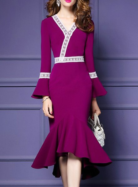 Plus Size Violet Plain High Low Elegant Asymmetric Midi Dress