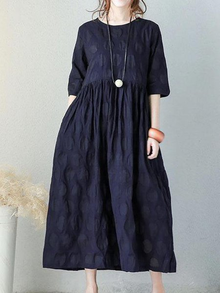 Navy Blue Half Sleeve Plain Crew Neck Linen Dress