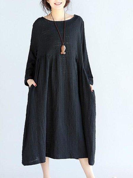 Black Cotton Casual Crinkled Linen Dress