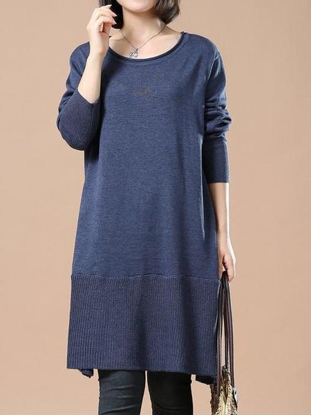 Blue H-line Plain Casual Linen Dress