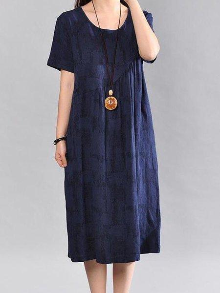 Navy Blue Shift Short Sleeve Linen Dress