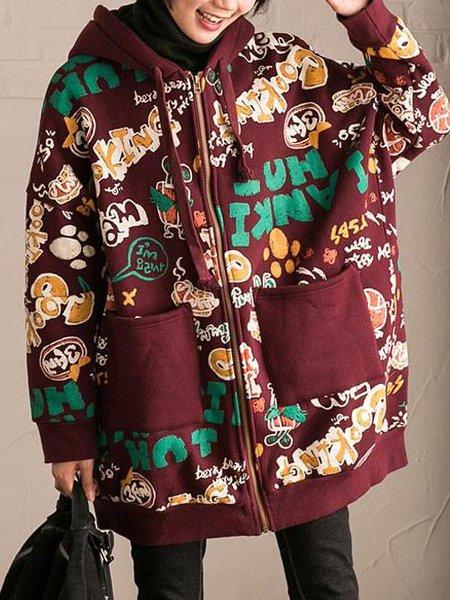 Crimson Casual Hoodie Polyester Linen Outerwear